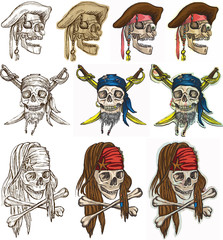 Pirates - Pirate skulls collection, hand drawings