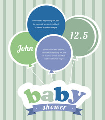 Colorful party balloons celebrating a newborn baby boy. Shower