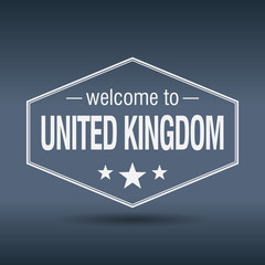 welcome to United Kingdom hexagonal white vintage label