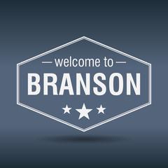 welcome to Branson hexagonal white vintage label