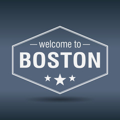 welcome to Boston hexagonal white vintage label