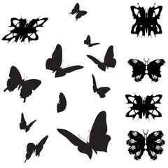 Vector silhouettes of butterflies.