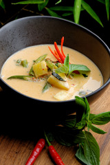 Traditional thai spicy red curry