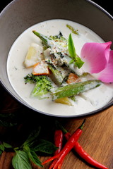 Traditional thai green curry with vegetables