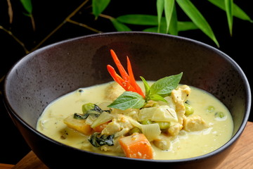 Traditional thai green curry with chicken