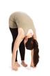 Sonnengrußposen im Yoga vor weißem Hintergrund