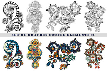 Set of Henna Paisley Mehndi Doodles Design Element.