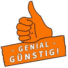 tus149 ThumbUpSign tus-v24 - Genial Günstig - orange g2249
