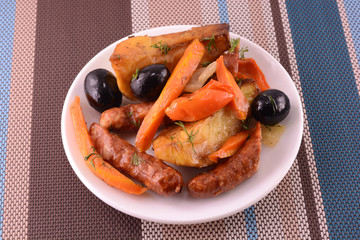 fresh salad with olives sausage carrot