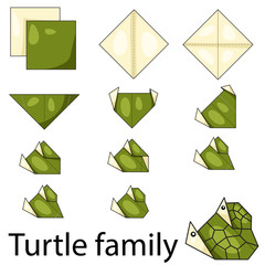 Illustration of turtle family origami