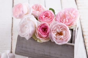 Fresh roses in box