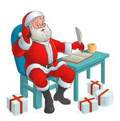 Santa with phone sitting at the table