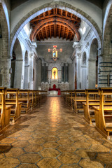 interior of an old Norman church in Sicily. hdr.