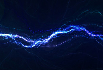 Blue electric lighting, abstract electrical background Wall mural