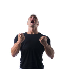 Very Angry Muscled Man in Black Shirt