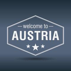 welcome to Austria hexagonal white vintage label
