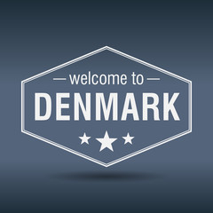 welcome to Denmark hexagonal white vintage label