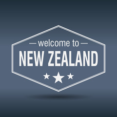 welcome to New Zealand hexagonal white vintage label