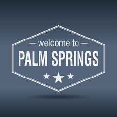 welcome to Palm Springs hexagonal white vintage label