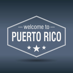 welcome to Puerto Rico hexagonal white vintage label
