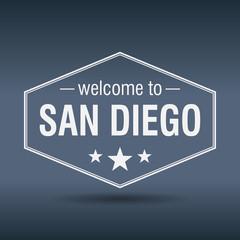 welcome to San Diego hexagonal white vintage label