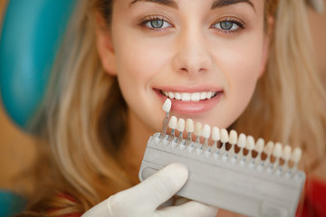 Woman at Dentist  clinic.  Teeth care and tooth health
