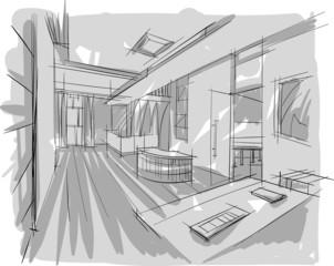 sketch of interior
