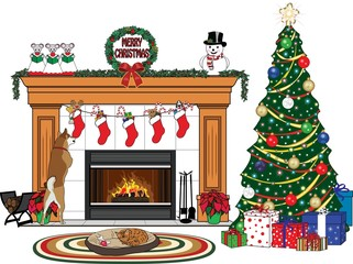 Christmas Fireplace Scene with Pets