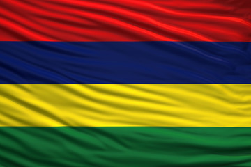 Waving Fabric Flag of Mauritius