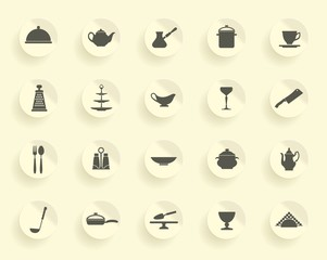 Silhouettes of kitchen ware and utensils on stickers