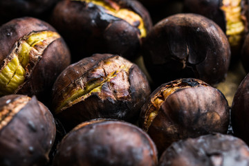 Roasted chestnuts background