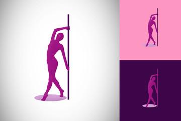 woman girl pole dance vector illustration
