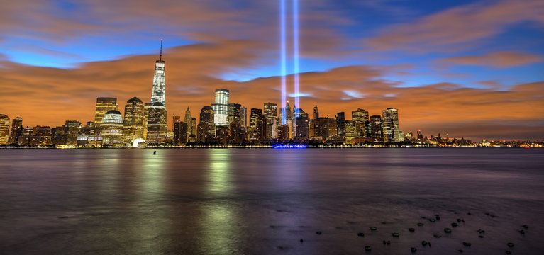New York City skyline with 9-11 tribute light