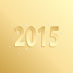 2015 happy new year gold paper design