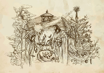 Nativity Scene - hand drawn vector on old paper