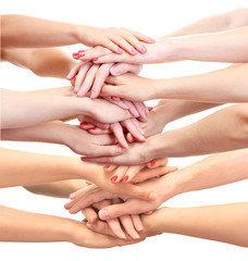 Young people's hands isolated on white