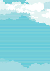 Vector  background of Cloudy sky  at retro style
