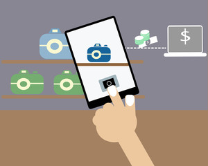 Buying good with mobile banking concept