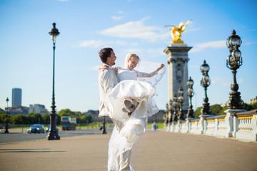 Beautiful bride and groom in Paris