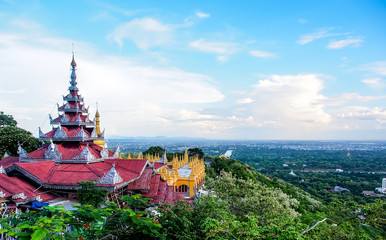 landscape of Mandalay city from hill top, Myanmar