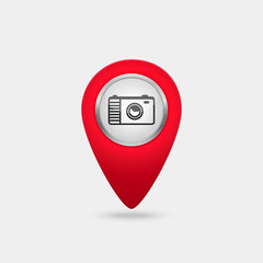 Vector location red icon with photo camera sign