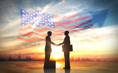 Two business man shake hand silhouettes city with american flag