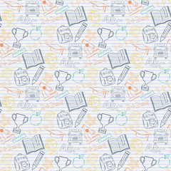 Seamless pattern Back to school on the notebook sheet in line
