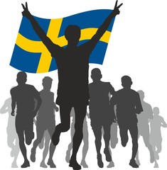 Winner with the Sweden flag at the finish
