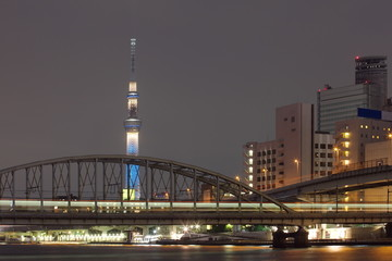 Tokyo city view and Sumida river with Tokyo sky tree