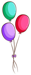 A simple drawing of the coloured balloons