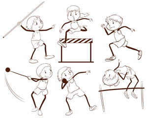 A plain outline of kids engaging in different activities