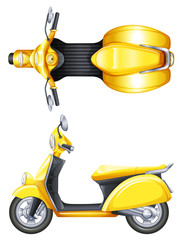 A yellow scooter