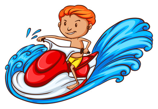 A drawing of a boy enjoying the water ride