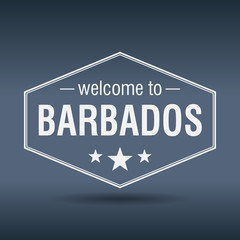 welcome to Barbados hexagonal white vintage label